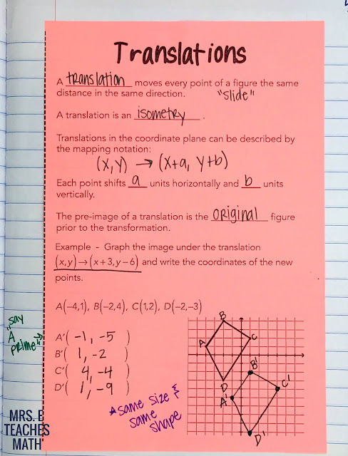 Translations Interactive Notebook Page for Geometry