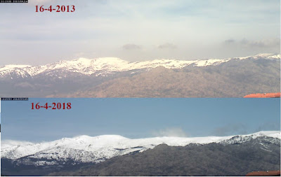 Comparativa nieve sierra de Guadarrama 16-4-2013 frente a 16-4-2018