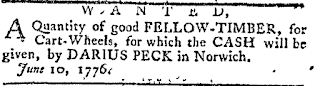 Darius Peck, Wanted Fellow Timber, 1776