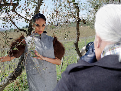 Karl Lagerfeld shooting Joan Smalls for Fendi's Fall/Winter 2012-13 Ad Campaign