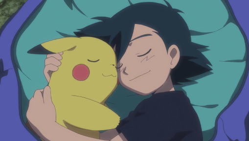 Pokémon the Movie I Choose You Pikachu Ash snuggling cuddling in bed