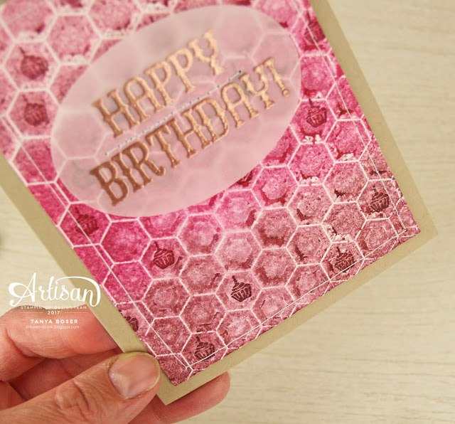 Acheive this look by sponging ink onto an embossing folder, lightly spritzing watercolor paper with water, then run it through a die cut machine. Made using Stampin Up Window Shopping stamp set and Hexagons embossing folder. Tanya Boser for the Stamp Review Crew