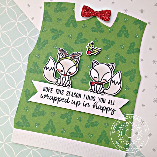 Sunny Studio Stamps: Sweater Vest Foxy Christmas Wrapped Up In Happy Holiday Card by Franci Vignoli