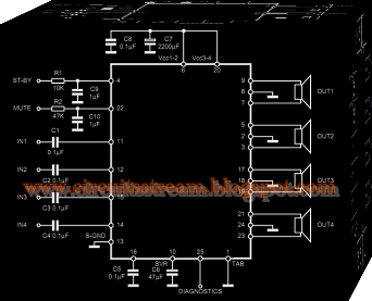 TDA7383 35W Car Quad Audio Amplifier Circuit Diagram