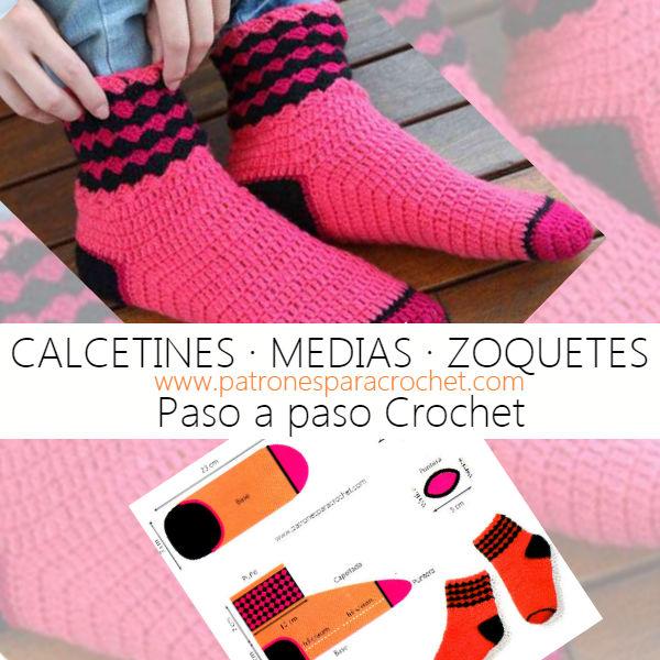 Calcetín Tejido a Crochet / Paso a paso en español | Patrones para ...