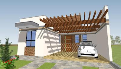 O pergolado de madeira sobre as vagas para automóveis permite grande economia na área coberta do imóvel - um fator a ser considerado em caso de financiamento da construção.
