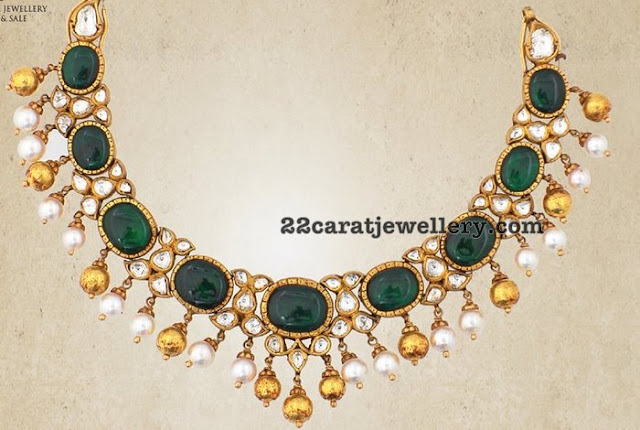 Pachi Emerald Choker with Gold Balls