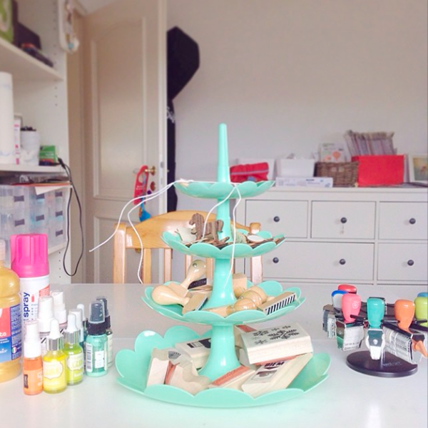 Tiered etagere rubber stamp storage