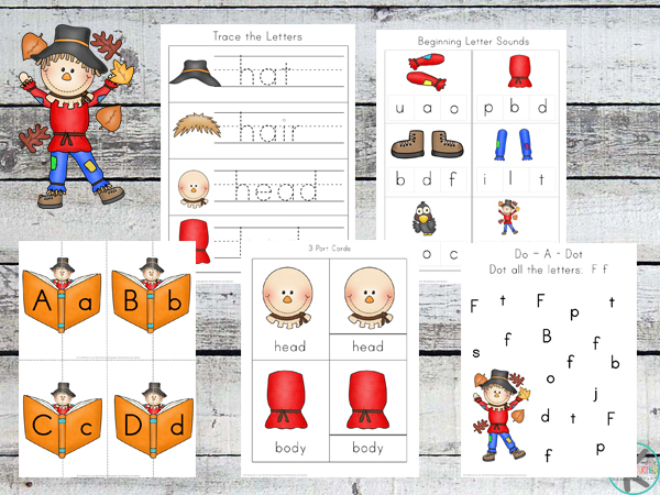 picture about Scarecrow Printable identified as Cost-free Scarecrow Printable Pack Kindergarten Worksheets and