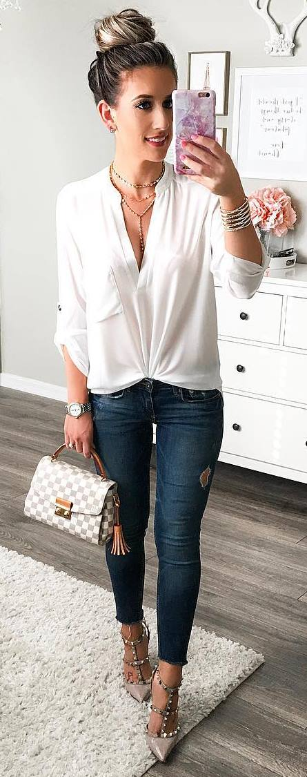 casual style addict: bag + heels + shirt + jeans