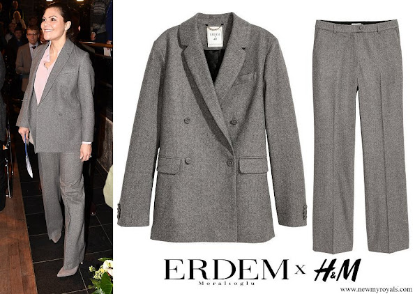 Crown Princess Victoria wore a wool blazer and trousers by ERDEM X H&M