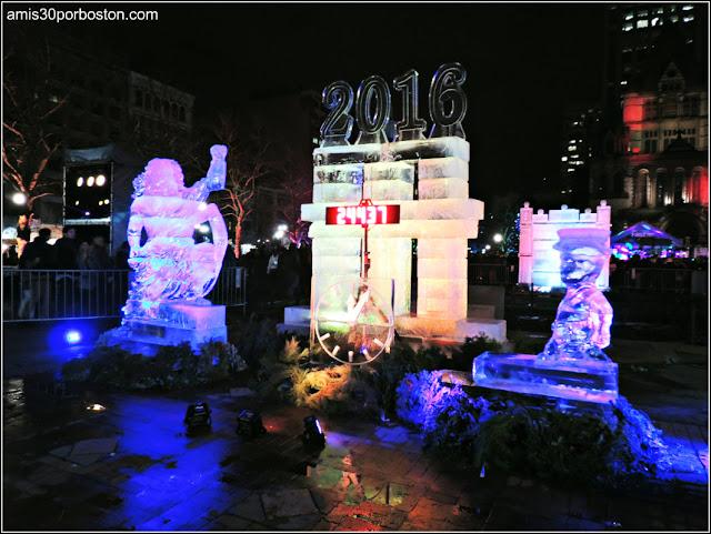 Esculturas de Hielo en Boston: Reloj