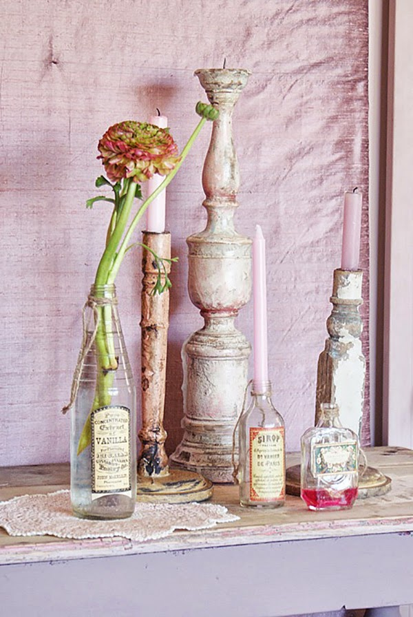 Pink and Lilac Shabby Chic Vignette with Vases Bottles and Candle Sticks