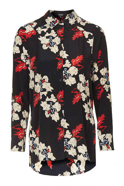 topshop red flower black shirt,
