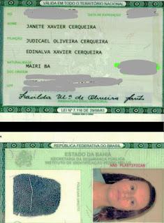 Janete Xavier Cerqueira, natural de Mairi-BA, perdeu o RG