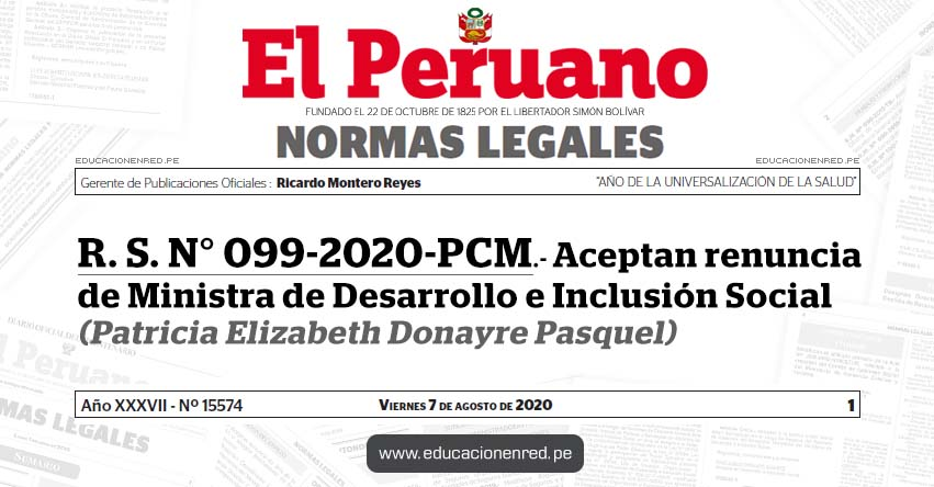 R. S. N° 099-2020-PCM.- Aceptan renuncia de Ministra de Desarrollo e Inclusión Social (Patricia Elizabeth Donayre Pasquel)