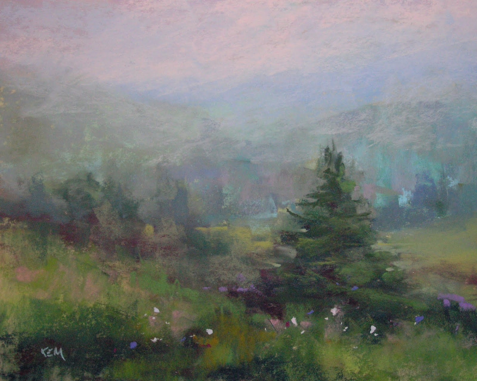 Morning Mist 8x10 Pastel Blue Ridge Mountains