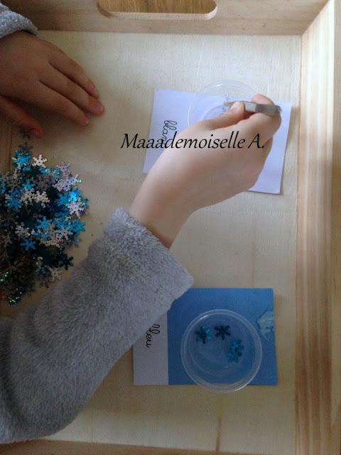 || Plateaux sensoriels : manipulations à la pince (à épiler), flocons de neige et pompons