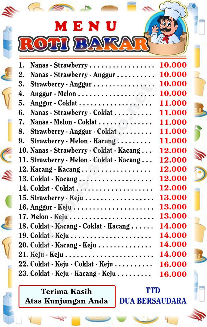 Desain Label Menu Roti Bakar