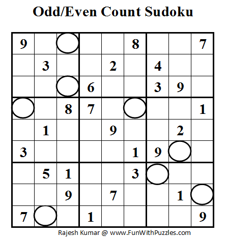 Odd/Even Count Sudoku (Fun With Sudoku #6)