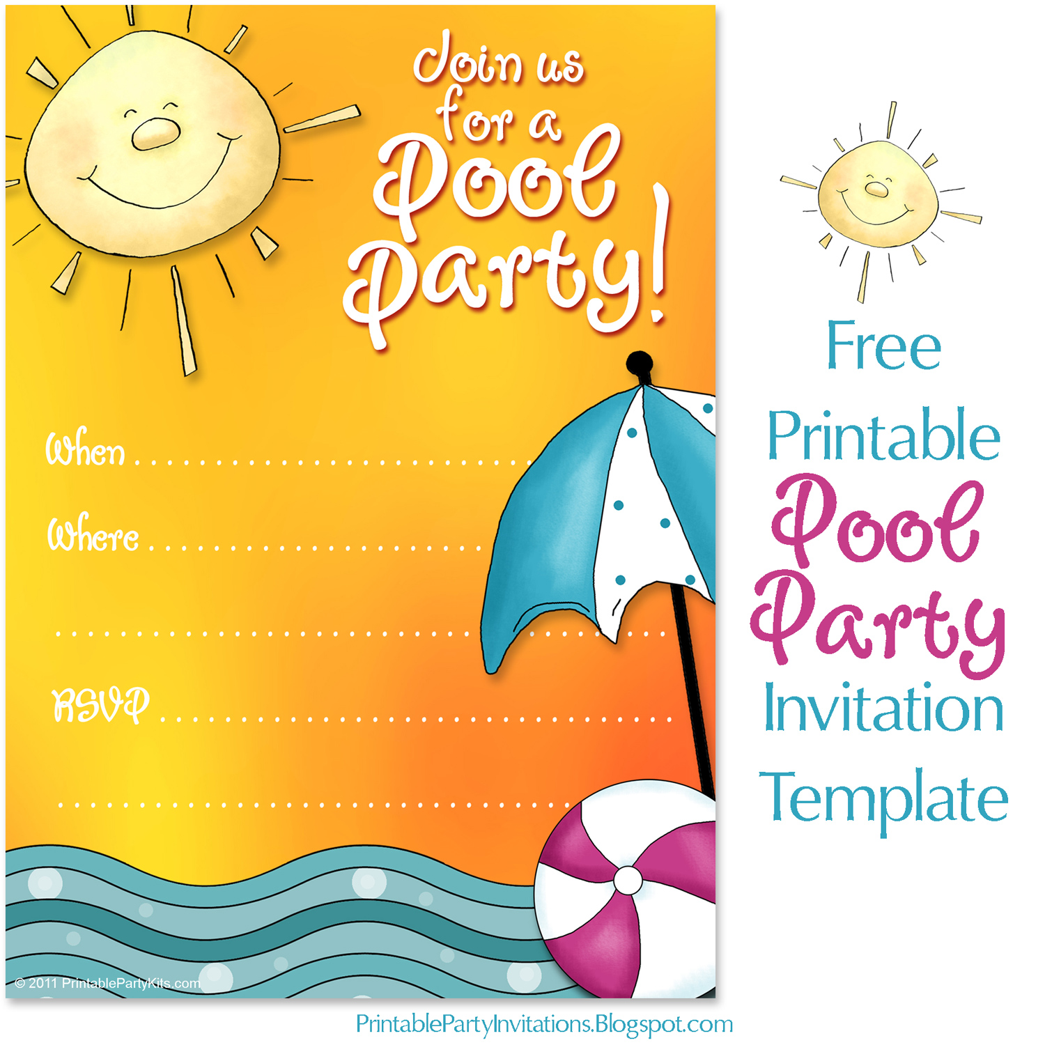 This is a photo of Printable Pool Party Invitations in 11th birthday party