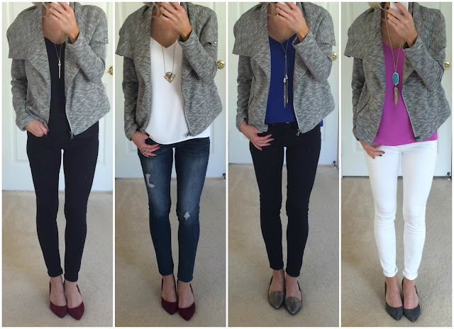 Express Grey French Terry Jacket Outfit Ideas