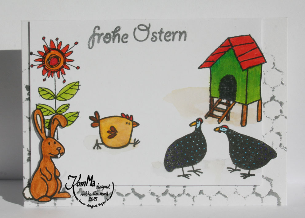Huhn Hühnerhof Chicken Run Artemio Embossing Paste Osterhase Hase