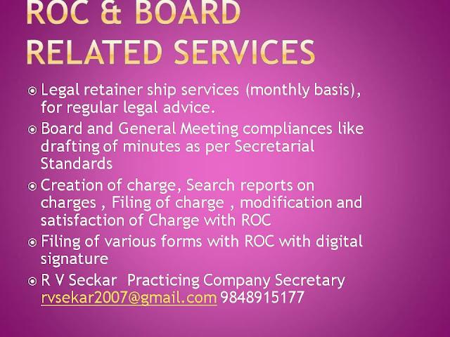 R V Seckar Practicing Company Secretary,  rvsekar2007@gmail.com ,9848915177