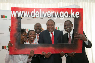 President Kenyatta and His deputy launching public information Portal. PHOTO   Courtesy PSCU