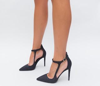 Pantofi moderni Negri de fete cu toc inalt din glitter eleganti