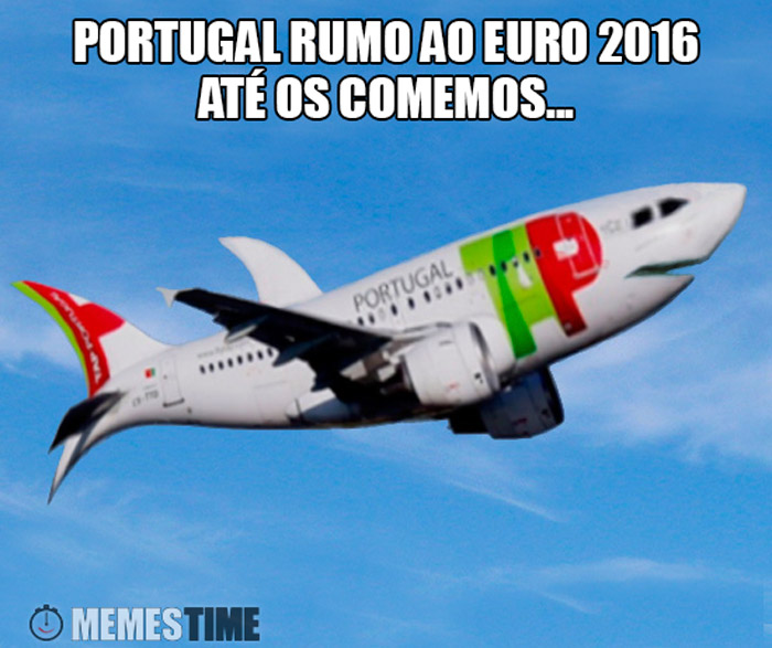 Meme Avião TAP com a Seleção Nacional – Portugal Rumo ao Euro 2016, até os comemos.