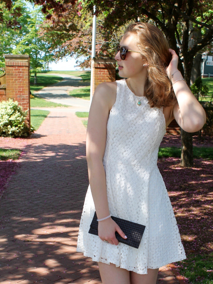 white lace dress, lace up snake skin ballet flats for a chic graduation outfit