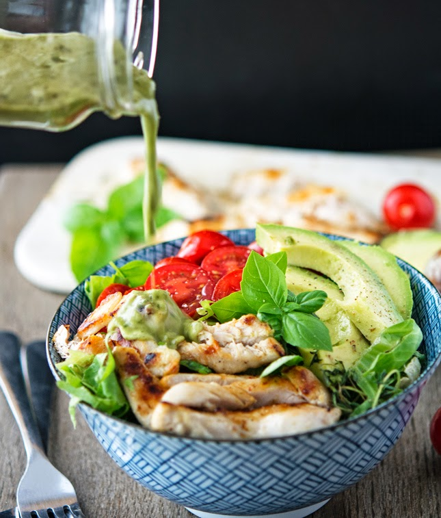 Shawarma Chicken Bowls with Basil-Lemon Vinaigrette