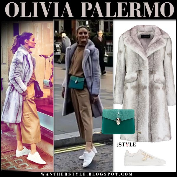 Olivia Palermo in grey fur cara mila coat, cropped pants and white tod's sneakers celebrity winter street style december 2018
