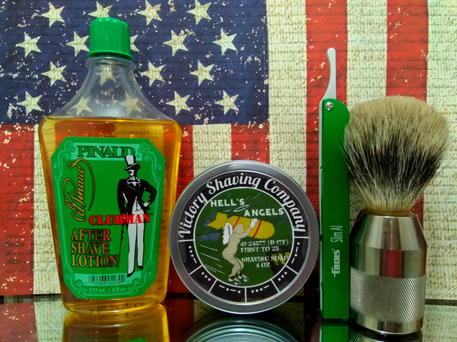 Focus Slim Al shavette, Victory Shaving Company Hell's Angels soap