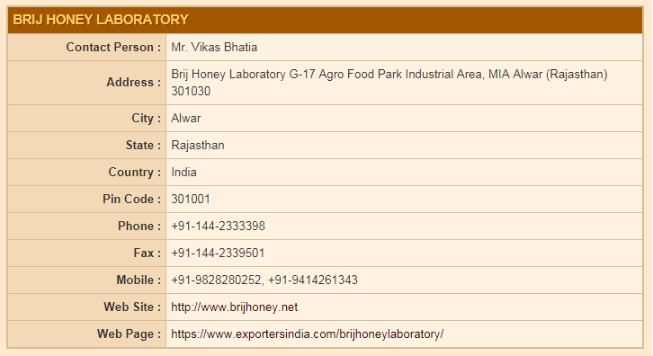 Brij Honey Laboratory