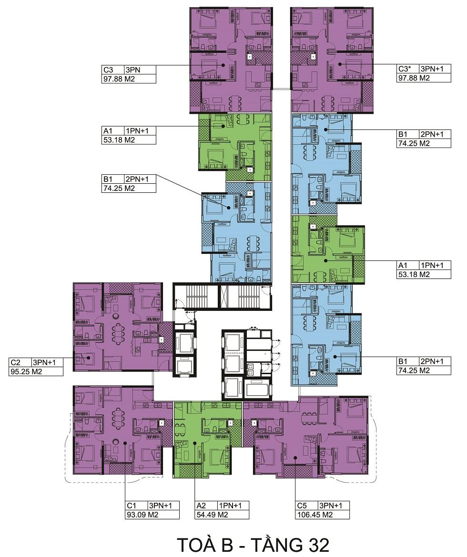 Mặt bằng tầng 32 Block B chung cư The Zen.