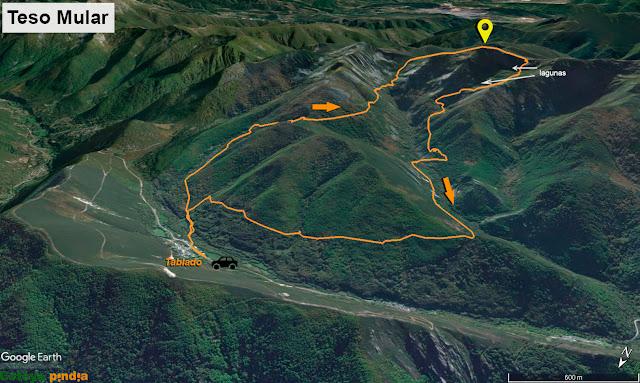 Mapa de la ruta señalizada al Teso Mular y las Lagunas de Tablado