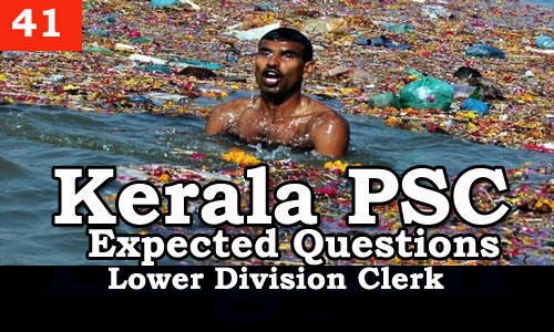Kerala PSC - Expected/Model Questions for LD Clerk - 41