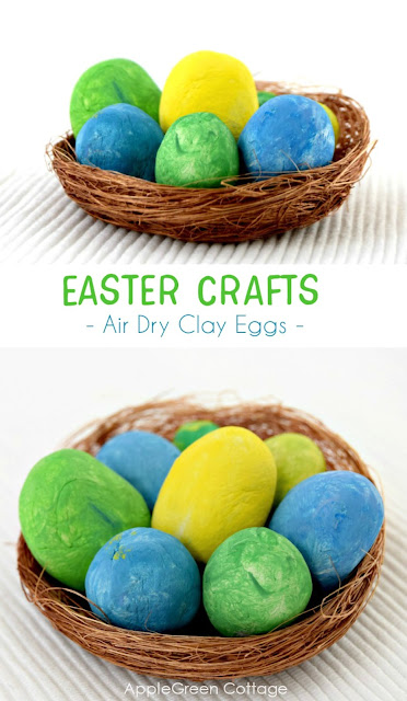 Easter crafts with clay eggs -  Get ready for Easter this year with touches of spring around the home. A bit of crafting goes a long way, and these colorful clay eggs will make part of a gorgeous Easter centerpiece, all made by yourself and your kids. Also, perfect if you do not want to use real eggs as Easter decoration.