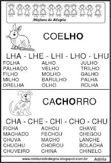 Fichas de leituras letras LH-CH