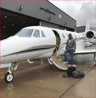 Dammy Krane flying private jet in the US