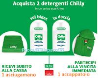 Logo ''Chilly sotto la doccia -  Speciale Acqua & Sapone'' in omaggio subito un asciugamano e vinci accappatoi Gabel