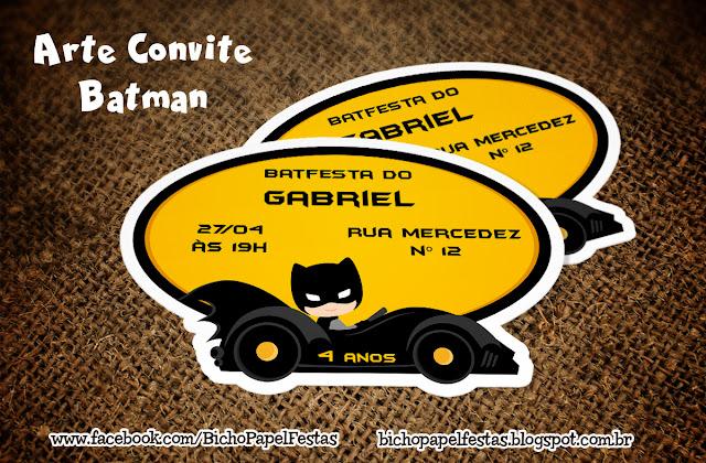Arte Convite Carro Batman