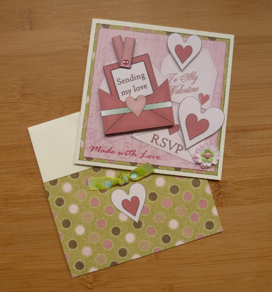 Sending my love Valentine handmade card in pink and green