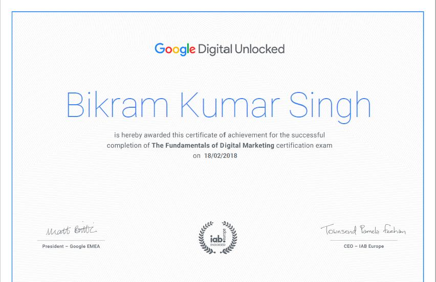 bikram kr singh google certificate bgs raw bikrams vlog google cerficate google unlock digital course