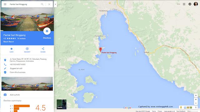 Posisi Google Maps Pantai Sari Ringgung di Provinsi Lampung
