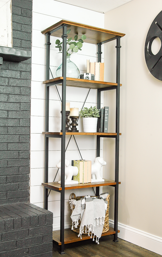 styled shelf with Amazon artificial sage plant