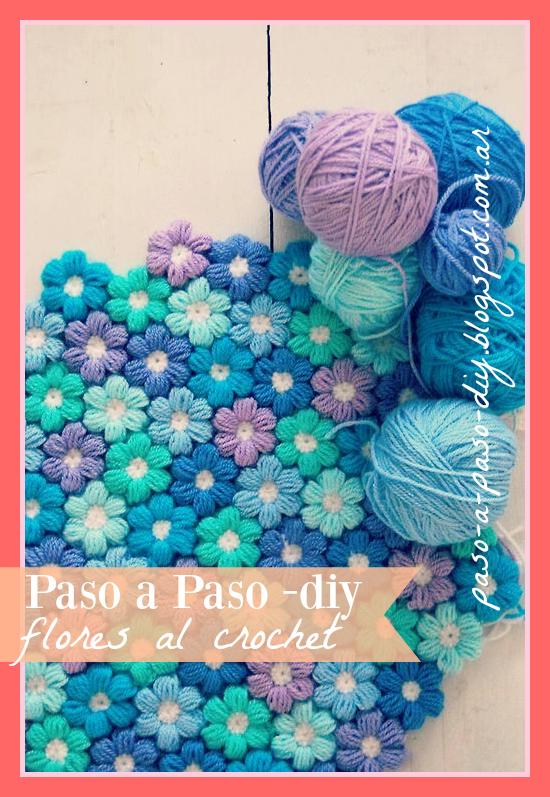 Punto flor al crochet o flores punto puff diy paso a paso - Hacer una manta de ganchillo ...