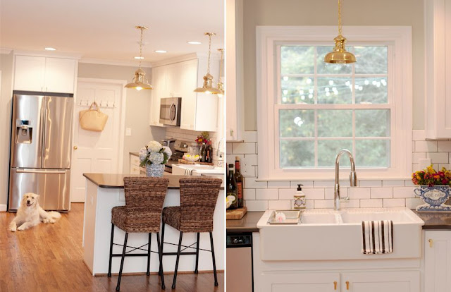 budget friendly kitchen update ideas adding brass hardware and pendants